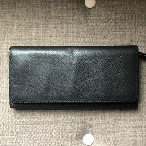 Clarks Black Leather Clutch Wallet - iPhone!